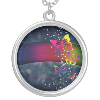 虹nの蝶 シルバープレートネックレス