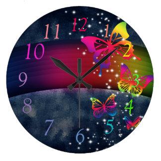 虹nの蝶 ラージ壁時計