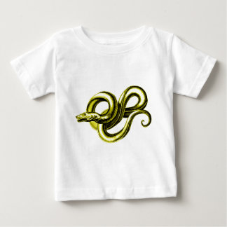 蛇(金ゴールド)の神話的な創造物のヴィンテージのプリント ベビーTシャツ