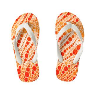 蛍光オレンジシマウマの抽象芸術 キッズビーチサンダル