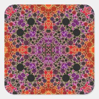 蛍光オレンジユニークで抽象的なパターン スクエアシール