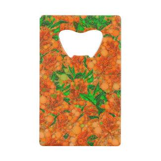 蛍光オレンジ緑の花の抽象芸術 クレジットカード ボトルオープナー