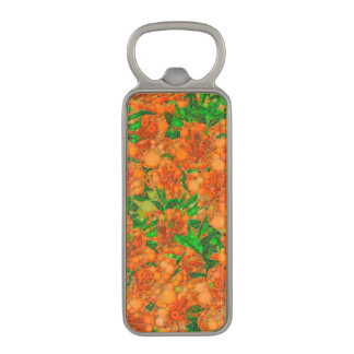蛍光オレンジ緑の花の抽象芸術 マグネット栓抜き