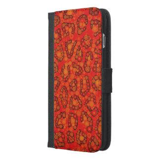 蛍光オレンジ赤のチータの抽象芸術 iPhone 6/6S PLUS ウォレットケース