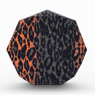 蛍光オレンジ黒いヒョウ 表彰盾