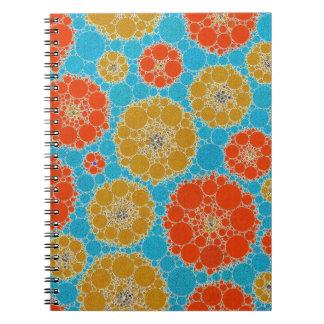 蛍光ターコイズのオレンジの抽象芸術の花 ノートブック