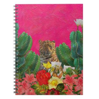 蛍光ピンクのトラの花の油のブラシ ノートブック