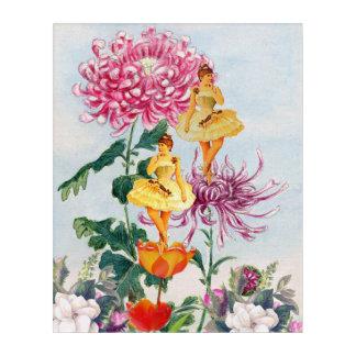 蛍光ピンクのヴィンテージのバレリーナのコラージュ アクリルウォールアート