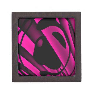 蛍光ピンクの黒の抽象芸術 ギフトボックス