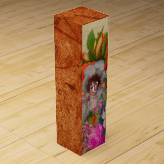 蛍光ヴィンテージの女性の花のコラージュ ワインギフトボックス