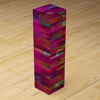 蛍光抽象的なパターンの滑走 ワインギフトボックス