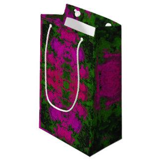 蛍光緑のピンクの抽象芸術 スモールペーパーバッグ