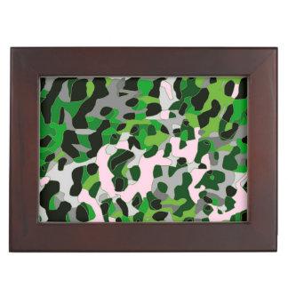 蛍光緑の灰色のチータの抽象芸術 ジュエリーボックス