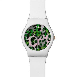 蛍光緑の灰色のチータの抽象芸術 腕時計