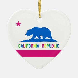 蛍光色カリフォルニアレトロの旗 セラミックオーナメント