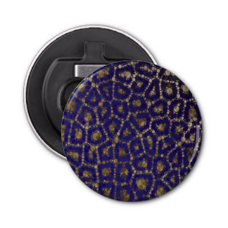 蛍光青い金ゴールドのチータの抽象芸術 栓抜き