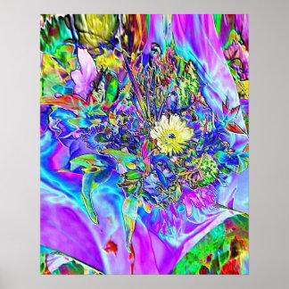 蛍光青、ラベンダー及び黄色い花ポスター ポスター
