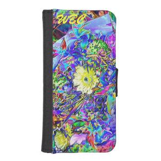 蛍光青、ラベンダー、黄色い花のモノグラム iPhoneSE/5/5sウォレットケース