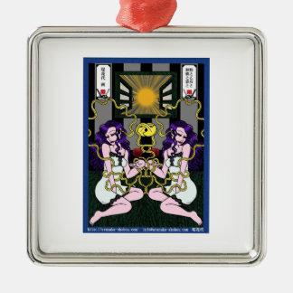 蛭と乙女と林檎と窓と シルバーカラー正方形オーナメント