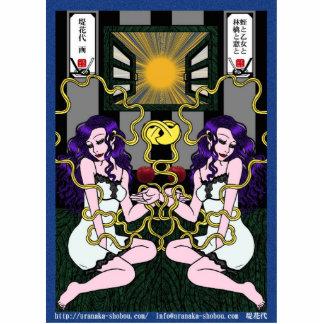 蛭と乙女と林檎と窓と 写真彫刻(台付き)
