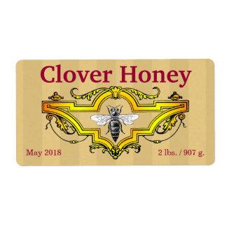 蜂およびクローバーの名前入りな蜂蜜の瓶 ラベル