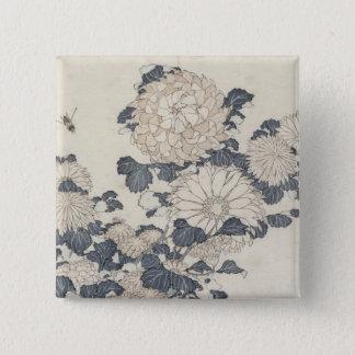 蜂および菊 5.1CM 正方形バッジ