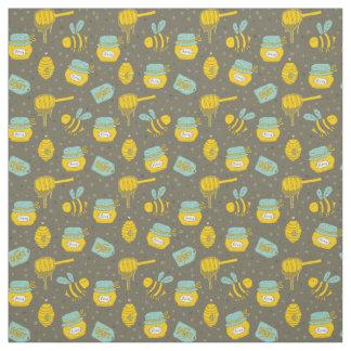 蜂および蜂蜜のディッパーの継ぎ目が無いパターン ファブリック