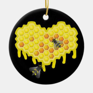 蜂および蜜蜂の巣の恋人 セラミックオーナメント