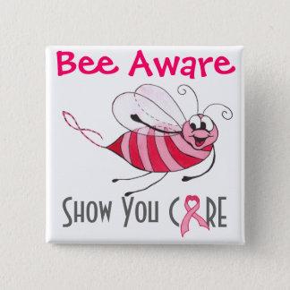蜂のわかっているピンクの蜂-乳癌の認識度Pin 5.1cm 正方形バッジ