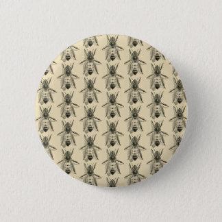 蜂のイラストレーション-ヴィンテージのデザインボタンのバッジ 缶バッジ