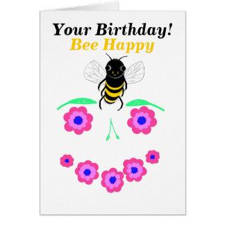 蜂のハッピーバースデーカードはカスタマイズ カード