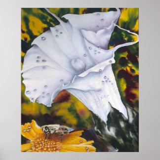 蜂のファインアートのプリントを持つユリ ポスター