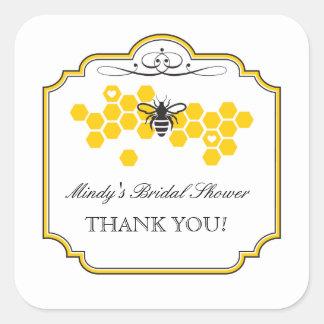 蜂のブライダルシャワーの好意のステッカーへの花嫁 スクエアシール