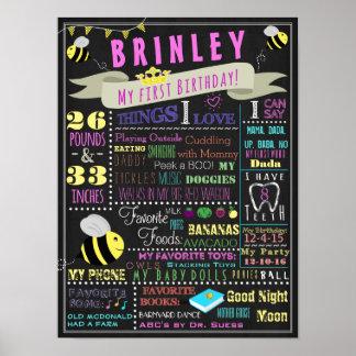 蜂の女の子の最初誕生日ポスター ポスター