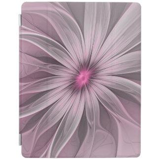 蜂の抽象芸術のフラクタルの芸術を待っているピンクの花 iPadスマートカバー