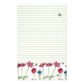 蜂の水彩画によっては並ぶピンクの宇宙の緑が開花します 便箋
