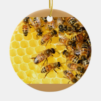 蜂の蜂のはちの巣の蜂蜜の櫛の甘いデザートの黄色 セラミックオーナメント