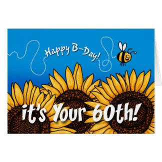 蜂の道のヒマワリ- 60歳 カード