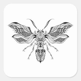 蜂スズメバチの入れ墨 スクエアシール