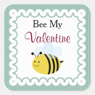 蜂私のバレンタイン、かわいい蜂、緑のストライプ スクエアシール