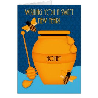 蜂蜜および蜂蜜の蜂とのL Shanah Tova カード