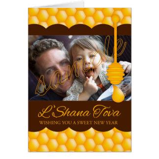 蜂蜜および蜂蜜DrizzlerとのL Shanah Tova カード