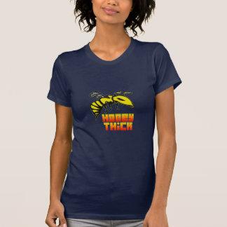 蜂蜜の厚い蜂のロゴの女性のV首のワイシャツ Tシャツ
