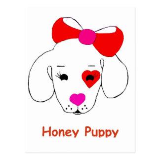 蜂蜜の子犬の新しい有名ブランド商品 ポストカード