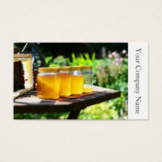 蜂蜜の瓶および蜜蜂の巣-名刺 名刺