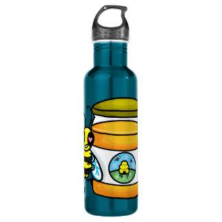 蜂蜜の瓶で傾いている漫画の蜂 ウォーターボトル