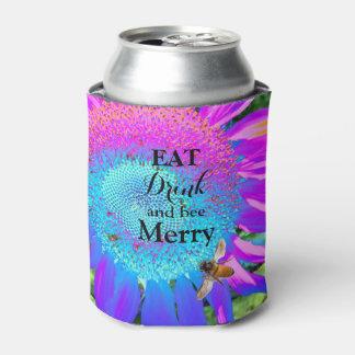 蜂蜜の蜂が付いている青いピンクの紫色のヒマワリ 缶クーラー
