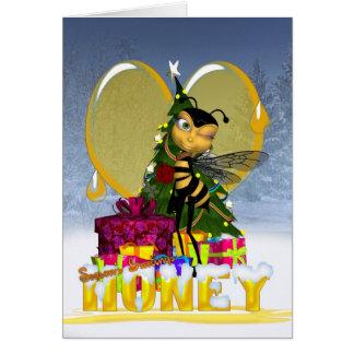 蜂蜜の蜂のクリスマスカード-かわいい蜂蜜の蜂蜜の蜂 カード