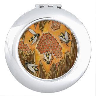 蜂蜜の蜂のコンパクトの鏡