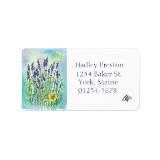 蜂蜜の蜂のラベンダーの水彩画の花 宛名ラベル